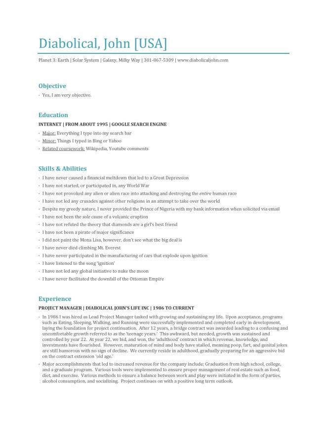 ultimate resume diabolical john